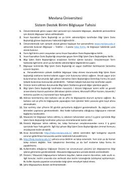 Mevlana Üniversitesi Sistem Destek Birimi Bilgisayar Tahsisi