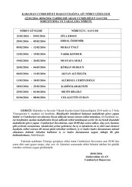 C. Başsavcılığı Nöbet Listesi