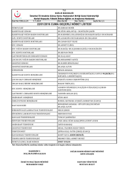 22.01.2016 - Kartal Koşuyolu Yüksek İhtisas Eğitim ve Araştırma