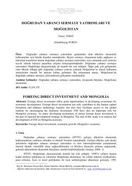 Doğrudan Yabancı Sermaye Yatırımları ve Moğolistan