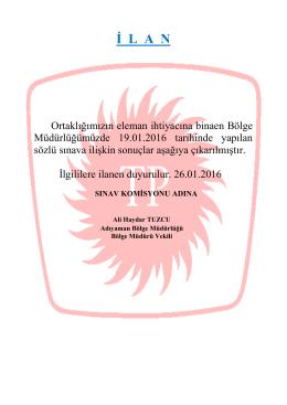 TP Adıyaman Bölge Müdürlüğü 19.01.2016 Tarihli Mülakat Sınav