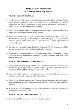 Türkiye Futbol Federasyonu 2016 Sezonu Futsal Ligi Statüsü