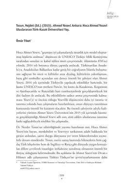 Yayın Değerlendirme - Ahmet Yesevi Üniversitesi