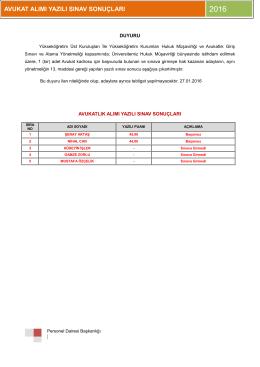 Avukatlık İlanı Yazılı Sınav Sonuçları