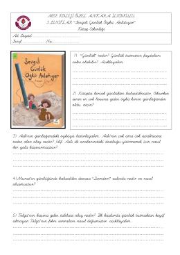 3. Sınıf SEVGİLİ GÜNLÜK Kitap Okuma Formu