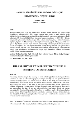 Avrupa Birliği Ülkelerinde İkiz Açık Hipotezinin Geçerliliği
