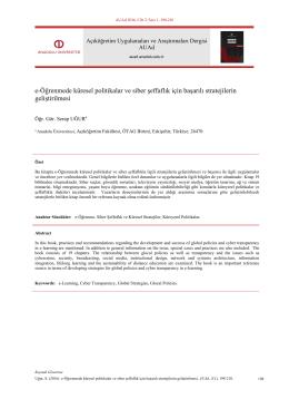 e-Öğrenmede küresel politikalar ve siber şeffaflık için