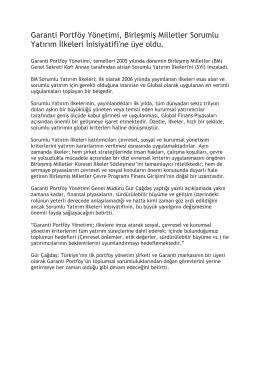Garanti Portföy Yönetimi, Birleşmiş Milletler Sorumlu Yatırım lkeleri