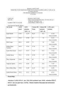 Adayların YAZILI SINAV için 29.01.2016 tarihinde Saat: 10.00