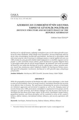 azerbaycan cumhuriyeti`nin savunma yapısı ve güvenlik