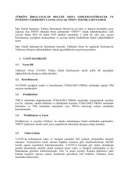 türkiye ihracatçılar meclisi adına gerçekleştirlecek ve internet