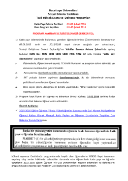 2015-2016 Egitim Ögretim Yili Bahar Dönemi Tezli