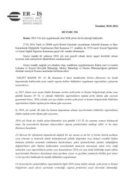 İstanbul, 28.01.2016 DUYURU 354 Konu: 2016 Yılı için