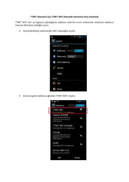 TTNET Aboneleri İçin TTNET WiFi Otomatik Hizmetine Giriş (Android