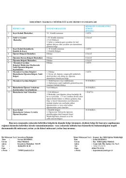 ilker tuncay ilkokulu kamu hizmetleri standartları tablosu