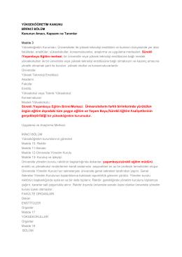 Sürekli /YaĢamboyu Eğitim Birimi/Merkezi: Üniversitelerin