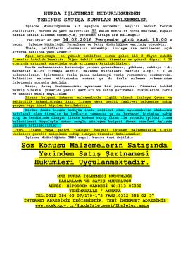 04.02.2016 Tarihli Yerinde Satış ihale listesi