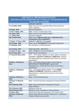 2015-2016 eğitim öğretim bahar yılı uzaktan tezsiz program