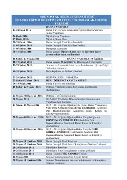 2015-2016 eğitim öğretim bahar yılı tezli program akademik takvimi