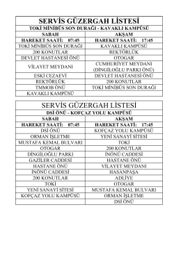 servis güzergah listesi servis güzergah listesi - KLU