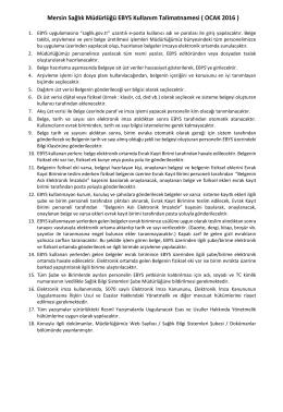 Mersin Sağlık Müdürlüğü EBYS Kullanım Talimatnamesi ( OCAK