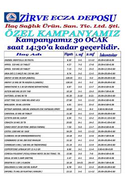 İndirmek için tıkla - Zirve Ecza Deposu >> Yeni!