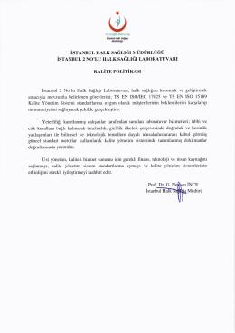 Kalite Politikası - İstanbul Halk Sağlığı Müdürlüğü
