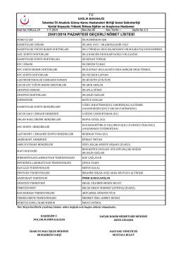 25.01.2016 - Kartal Koşuyolu Yüksek İhtisas Eğitim ve Araştırma
