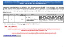 Sınav Sonucu - Osmangazi Üniversitesi