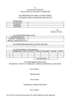 yaz öğretimi kayıt kabul ve onay formu