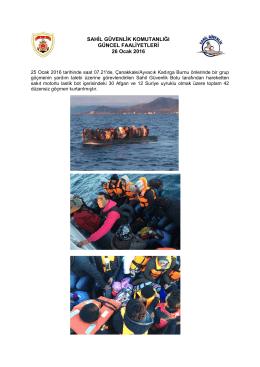 25 Ocak 2016 - Sahil Güvenlik Komutanlığı