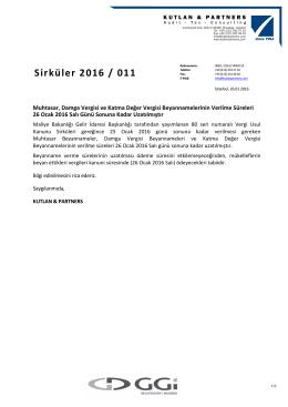 Sirküler 2016 / 011 - kutlan & partners