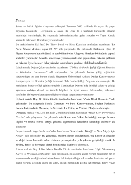 Sunuş - Sahne ve Müzik Eğitim-Araştırma Dergisi