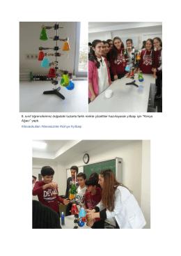 8. sınıf öğrencilerimiz doğadaki tuzlarla farklı renkte çözeltiler