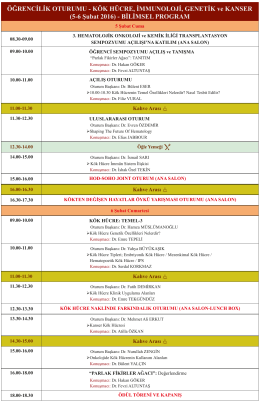 (5-6 Şubat 2016) - BİLİMSEL PROGRAM - HOD-KİT
