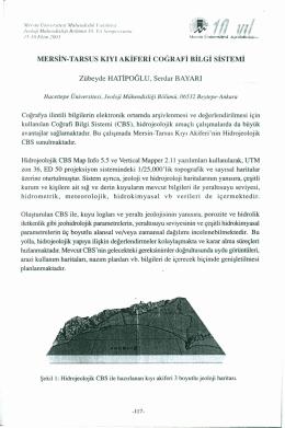 MERSİN-TARSUS KıYı AKİFERİ COGRAFİ BİLGİ SİSTEMİ Zübeyde
