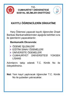 kayıtlı öğrencilerin dikkatine - Cumhuriyet Üniversitesi Sosyal