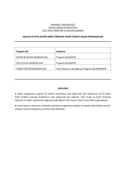 kırıkkale üniversitesi sosyal bilimler enstitüsü 2015