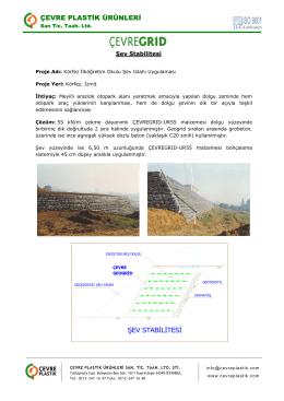 ŞEV STABİLİTESİ - Çevre Plastik Ürünleri San. Tic. Taah. Ltd