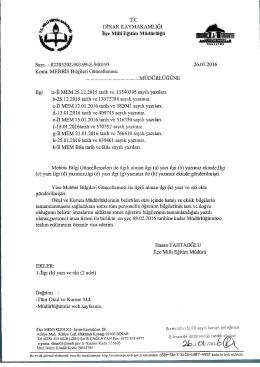 İlçe Mini Eğitim Müdürlüğü - Dinar İlçe Milli Eğitim Müdürlüğü