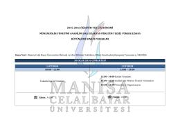 2015-2016 öğretim yılı güz dönemi mühendislik yönetimi anabilim
