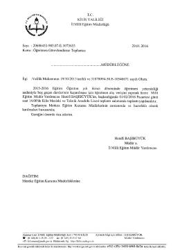 T.C. - Kilis Milli Eğitim Müdürlüğü