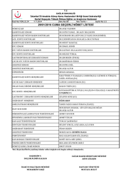 29/01/2016 cuma geçerli nöbet listesi