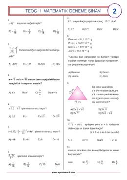 teog-1 matematik deneme sınavı - Abdullah Yazıcı ile Matematik