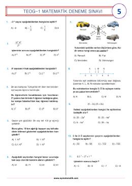 teog-1 matematik deneme sınavı