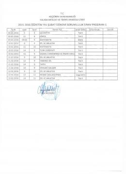 2015-2016 sorululuk sınav tarihleri