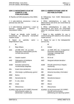 gen 2.2 skraćenice koje se koriste u ais publikacijama
