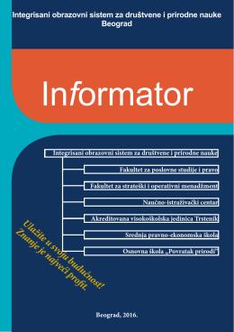 Informator - Fakultet za strateški i operativni menadžment