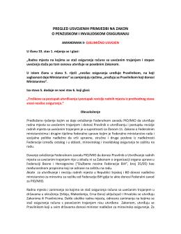 pregled usvojenih primjedbi na zakon o penzijskom i invalidskom