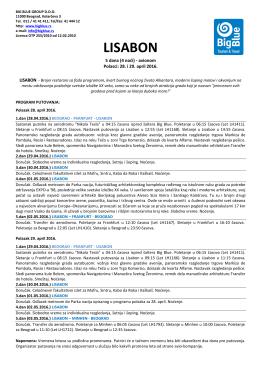 LISABON 28 i 29.04 - Turistička agencija Big Blue